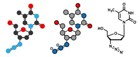 immunodeficiency: Zidovudine (azidothymidine, AZT) HIV drug molecule. Conventional skeletal formula and stylized representations. Illustration
