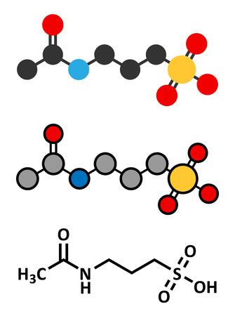 alcoholism: Acamprosate alcoholism treatment drug molecule. Conventional skeletal formula and stylized representations. Illustration