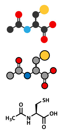 Acetylcysteine (NAC) mucolytic drug molecule. Conventional skeletal formula and stylized representations. Vector