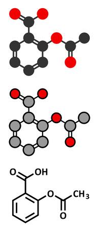 Kwas (kwas acetylosalicylowy) ulga w bólu cząsteczka acetylosalicylowy narkotyków. Konwencjonalny wzór szkieletowych i stylizowane reprezentacje.