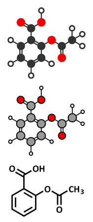 Acetylsalicylic acid (aspirin) pain relief drug molecule. Conventional skeletal formula and stylized representations.