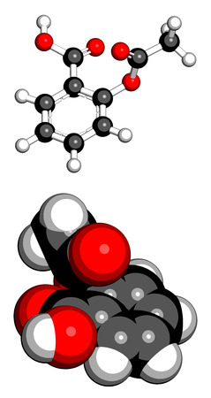 Acetylsalicylic acid (aspirin) pain relief drug molecule. Two representations: 3D ball-and-stick model, 3D space-filling model