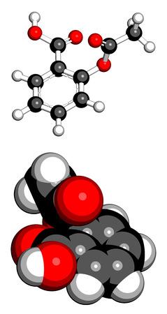 resfriado comun: �cido (�cido acetilsalic�lico) mol�cula del f�rmaco alivio del dolor acetilsalic�lico. Dos representaciones: Modelo de bola y palo de 3D, modelo que llena el espacio 3D
