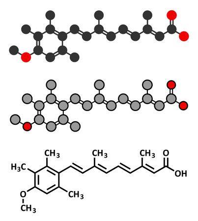 representations: Acitretin psoriasis drug molecule. Conventional skeletal formula and stylized representations.