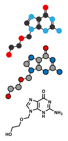 Acyclovir herpes drug molecule. Antiviral used in the treatment of cold sores, shingles and chickenpox. Conventional skeletal formula and stylized representations.