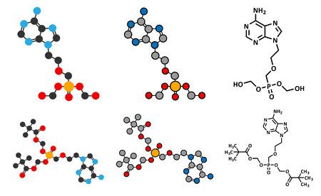 simplex: Adefovir dipivoxil hepatitis B and herpes simplex virus (HSV) drug molecule. Conventional skeletal formula and stylized representations. Illustration