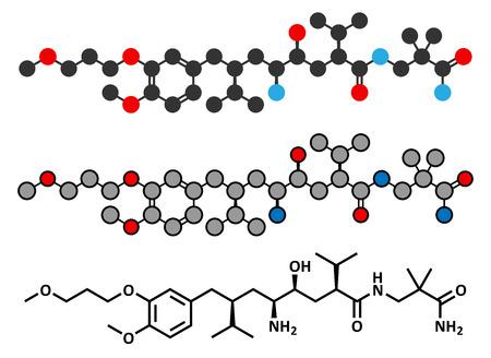 inhibitor: Aliskiren hypertension or high blood pressure drug (renin inhibitor class) molecule. Conventional skeletal formula and stylized representations. Illustration