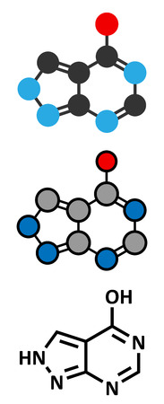 oxidase: Allopurinol gout drug molecule. Conventional skeletal formula and stylized representations.