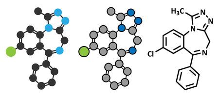 benzodiazepine: Alprazolam sedative and hypnotic drug (benzodiazepine class) molecule. Conventional skeletal formula and stylized representations.