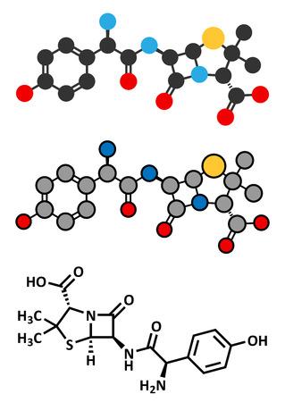 beta cells: Amoxicillin beta-lactam antibiotic drug molecule. Conventional skeletal formula and stylized representations. Illustration