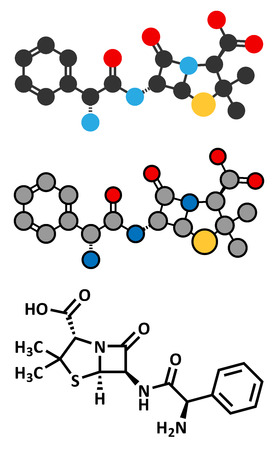 beta cells: Ampicillin beta-lactam antibiotic drug molecule. Conventional skeletal formula and stylized representations. Illustration