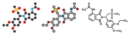 representations: Apremilast psoriasis drug molecule. Conventional skeletal formula and stylized representations.