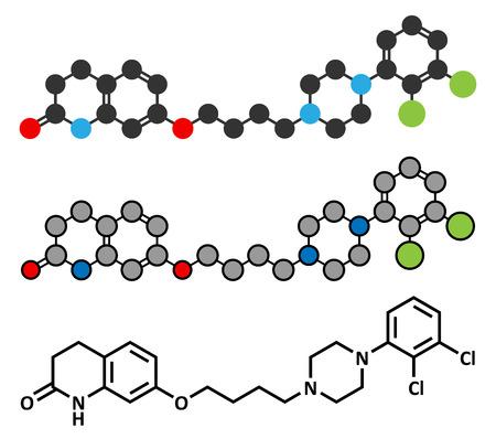 representations: Aripiprazole antipsychotic drug molecule. Conventional skeletal formula and stylized representations. Illustration