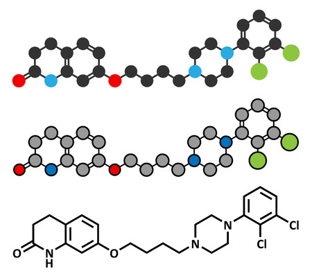 Aripiprazole antipsychotic drug molecule. Conventional skeletal formula and stylized representations. Illustration