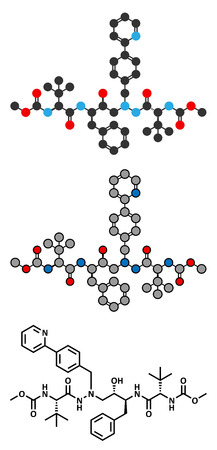 immunodeficiency syndrome: Atazanavir HIV drug (protease inhibitor class) molecule. Conventional skeletal formula and stylized representations.