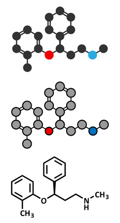 norepinephrine: Atomoxetine attention-deficit hyperactivity disorder (ADHD) drug molecule. Conventional skeletal formula and stylized representations.
