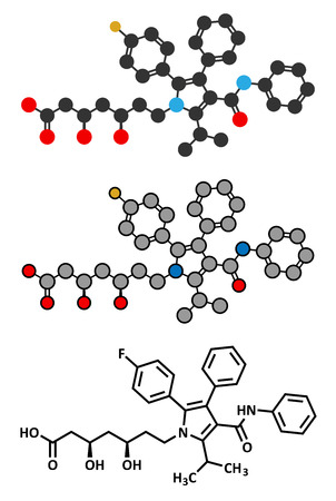 Atorvastatin cholesterol lowering drug (statin class) molecule. Conventional skeletal formula and stylized representations. Vector