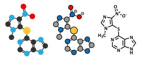carcinogen: Mol�cula del f�rmaco inmunosupresor azatioprina. Se utiliza para prevenir el rechazo de trasplantes y en el tratamiento de la enfermedad autoinmune. F�rmula esquel�tico convencional y representaciones estilizadas. Vectores