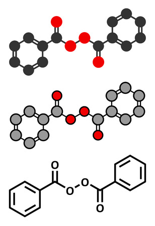 benzoic: Benzoyl peroxide acne treatment drug molecule. Also used to dye hair and whiten teeth (bleaching). Conventional skeletal formula and stylized representations.