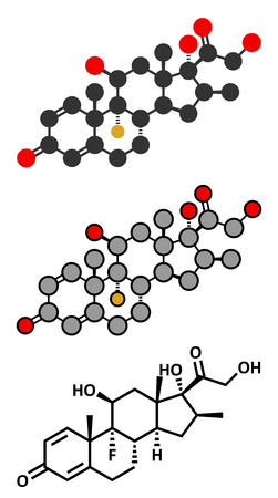 Betamethasone anti-inflammatory and immunosuppressive steroid drug molecule. Conventional skeletal formula and stylized representations.