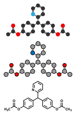 purgative: Bisacodyl laxative drug molecule. Conventional skeletal formula and stylized representations. Illustration