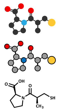 myocardial infarction: Captopril high blood pressure (hypertension) drug. An angiotensin-converting enzyme inhibitor (ACE inhibitor). Conventional skeletal formula and stylized representations.
