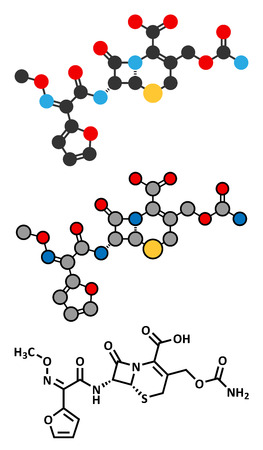 Cefuroxime second generation cephalosporin antibiotic molecule. Conventional skeletal formula and stylized representations. Vector
