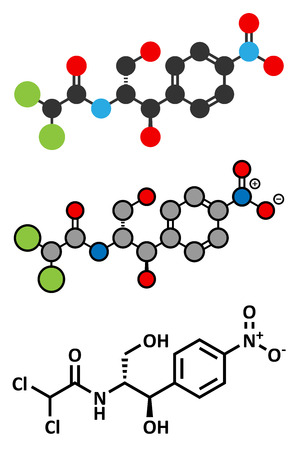 representations: Chloramphenicol antibiotic drug molecule. Conventional skeletal formula and stylized representations.