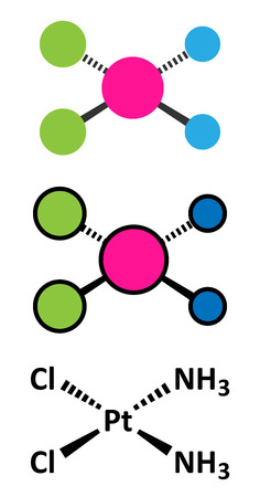 Cisplatin cancer chemotherapy drug molecule. Conventional skeletal formula and stylized representations. Illustration