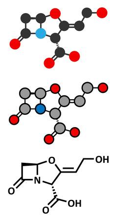 penicillin: Clavulanic acid beta-lactamase blocker drug molecule. Often combined with beta-lactam class antibiotics. Conventional skeletal formula and stylized representations.
