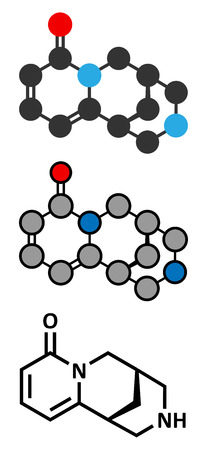 Cytisine (baptitoxine, sophorine) smoking cessation drug molecule.  Conventional skeletal formula and stylized representations. Vector