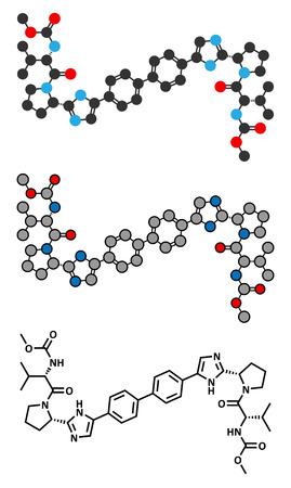 hepatitis virus: Daclatasvir experimental (2013) hepatitis C virus drug molecule. Conventional skeletal formula and stylized representations.