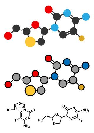 hbv: Emtricitabine HIV treatment drug molecule. Conventional skeletal formula and stylized representations. Illustration