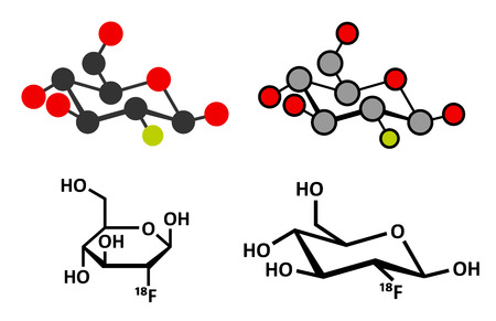 Fludeoxyglucose 18F (fluorodeoxyglucose 18F, FDG) cancer imaging diagnostic drug molecule. Contains radioactive isotope fluorine-18. Conventional skeletal formula and stylized representations. Illustration