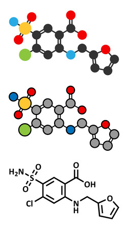 edema: Furosemide diuretic drug molecule. Medically used to treat hypertension. Also used as masking agent in sports doping. Conventional skeletal formula and stylized representations. Illustration