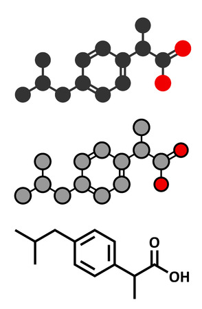 conventional: Ibuprofen pain and inflammation drug (NSAID) molecule. Conventional skeletal formula and stylized representations. Illustration