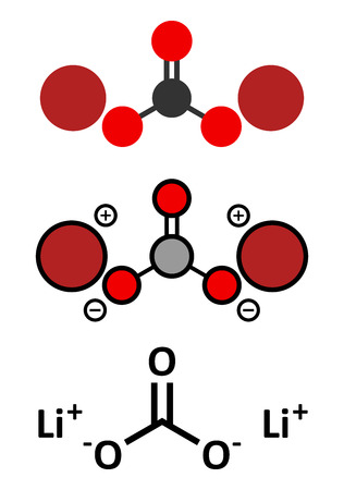 li: Lithium carbonate (Li2CO3) bipolar disorder drug molecule. Conventional skeletal formula and stylized representations.