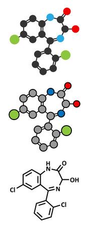 передозировка: Лоразепам седативное и снотворное лекарственное средство (класс бензодиазепина) молекула. Обычные скелетных формула и стилизованные представления. Иллюстрация