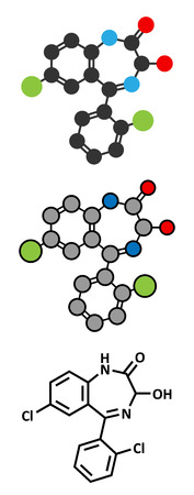 benzodiazepine: Lorazepam sedative and hypnotic drug (benzodiazepine class) molecule. Conventional skeletal formula and stylized representations. Illustration