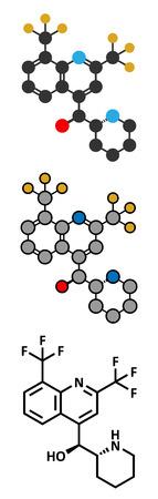 plasmodium: Mefloquine malaria drug molecule. Conventional skeletal formula and stylized representations.