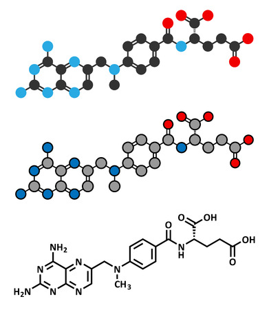 Methotrexate cancer chemotherapy and immunosuppressive drug molecule. Conventional skeletal formula and stylized representations. Illustration