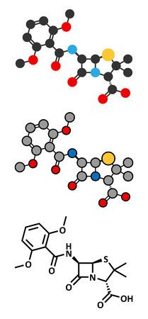 staphylococcus: Meticillin antibiotic drug (beta-lactam class) molecule. MRSA stands for Methicillin-resistant Staphylococcus aureus. Conventional skeletal formula and stylized representations.