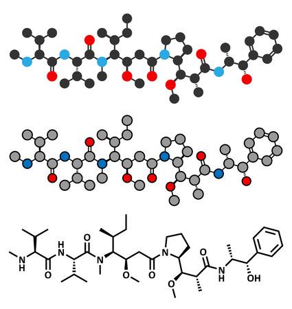 lymphoma: Monomethyl auristatin E (MMAE, vedotin), the cytotoxic payload of brentuximab vedotin antibody-drug conjugate. Conventional skeletal formula and stylized representations.