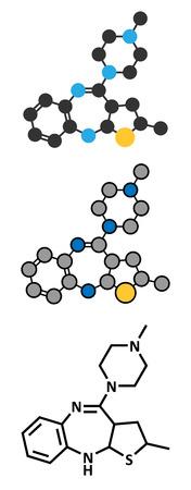 representations: Olanzapine antipsychotic drug molecule. Conventional skeletal formula and stylized representations.