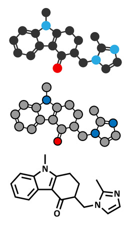 obsessive compulsive: Ondansetron nausea and vomiting treatment drug molecule. Conventional skeletal formula and stylized representations.