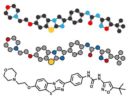 leucemia: Quizartinib investigaci�n leucemia mieloide (LMA) mol�cula aguda de drogas. F�rmula esquel�tico convencional y representaciones estilizadas.