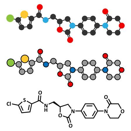 anticoagulant: Medicamento anticoagulante Rivaroxaban (inhibidor del factor Xa directa) mol�cula. F�rmula esquel�tico convencional y representaciones estilizadas.