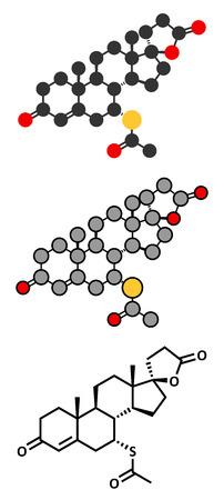 diuretic: Spironolactone diuretic, antihypertensive and antiandrogen drug molecule. Conventional skeletal formula and stylized representations.