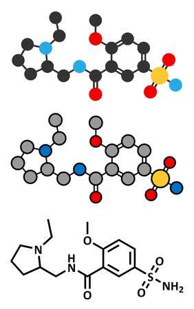 delirium: Sulpiride antipsychotic (neuroleptic) drug molecule. Conventional skeletal formula and stylized representations. Illustration
