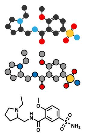 depressive: Sulpiride antipsychotic (neuroleptic) drug molecule. Conventional skeletal formula and stylized representations. Illustration